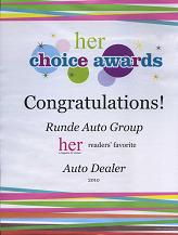 Runde voted Best Car Dealer in Her Magazine in Dubuque