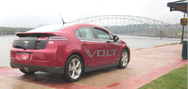 Chevy Volt on the Dubuque River Walk