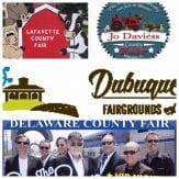 Collage of local county fair logos