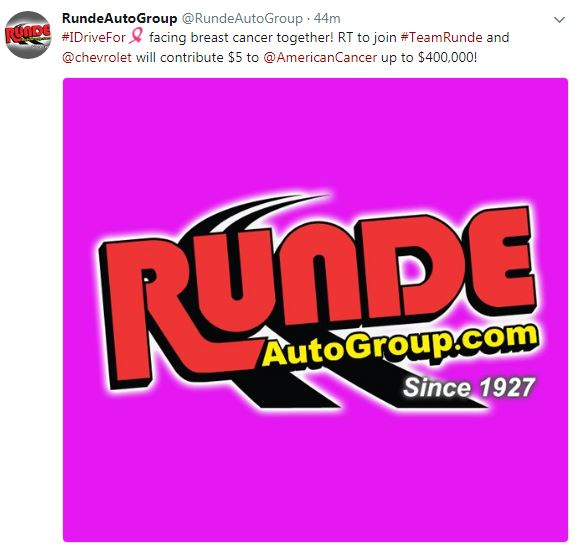 Runde Chevy >> Breast Cancer Awareness | Runde Auto Group