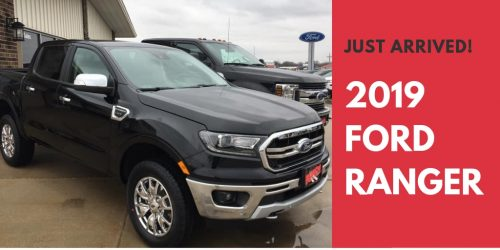 black 2019 Ford Ranger crew cab for sale at Runde Auto Group in Manchester Iowa