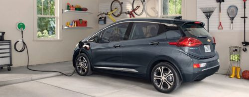 Chevy Bolt charging inside a garage in East Dubuque