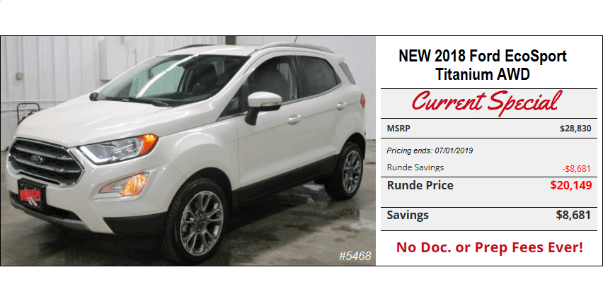 New 2018 Ford EcoSport for sale in Manchester Iowa